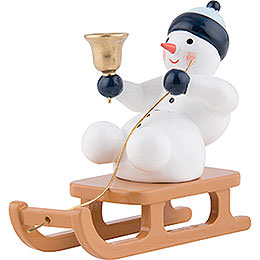Snow Man with Bell on Sleigh Sitting  -  6,5cm / 2.5 inch