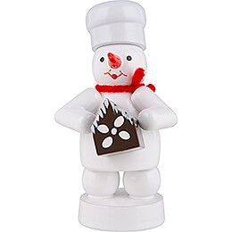 Snowman Baker with Gingerbread House  -  8cm / 3.1 inch