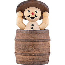 "Snowman  -  Junior ""in barrel and lid up""  -  7cm / 2.8 inch"