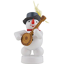 Snowman Musician with Banjo  -  8cm / 3 inch