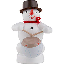 Snowman Musician with Drum  -  8cm / 3 inch