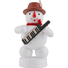 Snowman Musician with Keyboard  -  8cm / 3 inch