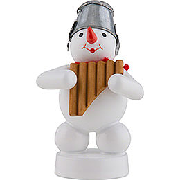 Snowman Musician with Panpipes  -  8cm / 3 inch