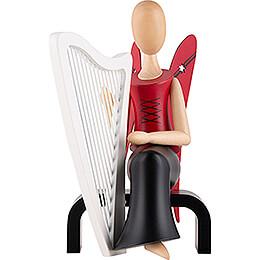 Sternkopf Engel mit Harfe sitzend  -  15,5cm