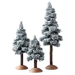 Tanne mit Schnee mit Stamm sortiert, 3 - teilig  -  17cm