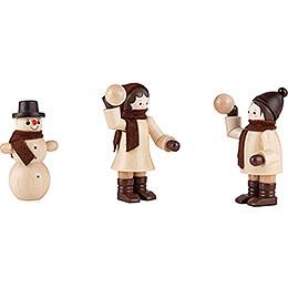 Thiel - Figur Schneeballwerfer mit Schneemann  -  natur  -  3 - teilig  -  6cm