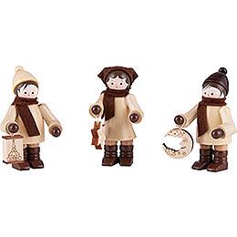 Thiel Figurine  -  Lampion Children  -  natural  -  Set of Three  -  7,5cm / 3 inch