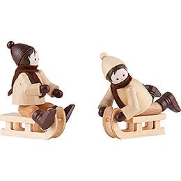 Thiel Figurine  -  Sledge Children  -  natural  -  Set of Two  -  6cm / 2.4 inch