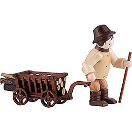 Thiel Figurine  -  Woodsman with Handcart  -  natural  -  6,5cm / 2.6 inch