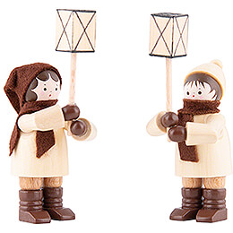 Thiel Figurines  -  Lantern Children  -  natural  -  Set of Two  -  7cm / 2.8 inch