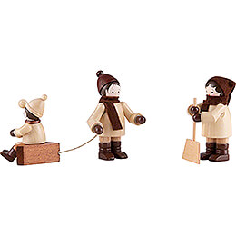 Thiel Figurines  -  Snow clearing  -  natural  -  Set of Three  -  5,5cm / 2.2 inch