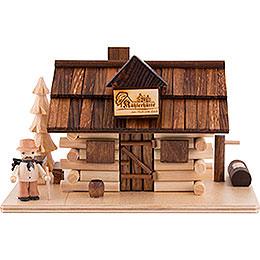 Traditionelles Rauchhaus Köhlerhütte mit Waldarbeiter und LED  -  10,5cm