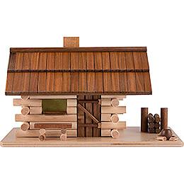 Traditionelles Rauchhaus Waldhütte mit LED  -  10cm