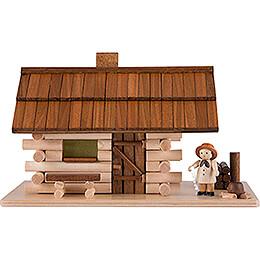 Traditionelles Rauchhaus Waldhütte mit Waldarbeiter und LED  -  10cm