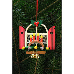 Tree Ornament  -  Advent Window with Candle Arch  -  7,6x7,0cm / 3x3 inch