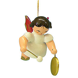 Tree Ornament  -  Angel with Small Gong  -  Red Wings  -  Floating  -  5,5cm / 2,1 inch