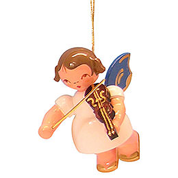 Tree Ornament  -  Angel with Violin  -  Blue Wings  -  Floating  -  5,5cm / 2,1 inch