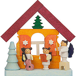 Tree Ornament  -  Colorful House with Musician Angels  -  7,5cm / 3 inch