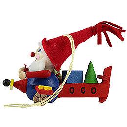 Tree Ornament  -  Old Flying Santa  -  7cm / 2.8 inch