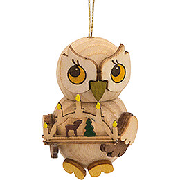 Tree Ornament  -  Owl Child with Candle Arch  -  4cm / 1.6 inch