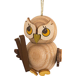 Tree Ornament  -  Owl Child with Ski  -  4cm / 1.6 inch