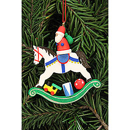 Tree Ornament  -  Santa Claus on Rocking Horse  -  6,8x7,1cm / 2.7x2.8 inch