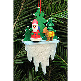Tree Ornament  -  Santa Claus with Bambi on Icicle  -  5,5x8,8cm / 2.2x3.4 inch