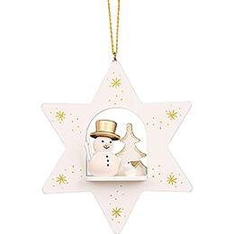 Tree Ornament  -  Star White with Snowman  -  9,6cm / 3.8 inch