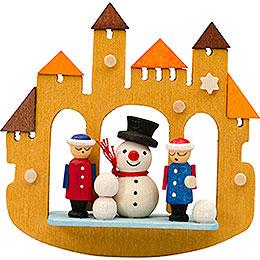 Tree Ornament  -  Town Gate Snowmann  -  7cm / 2.8 inch