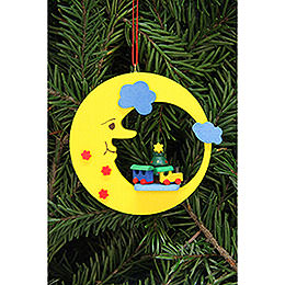 Tree Ornament  -  Train in Moon  -  8,3x7,9cm / 3.3x3.1 inch