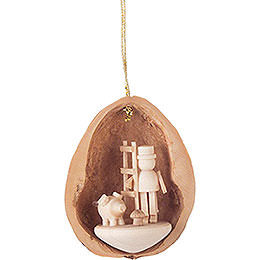 Tree Ornament  -  Walnut Shell with 3 Lucky Charms  -  4,5cm / 1.8 inch