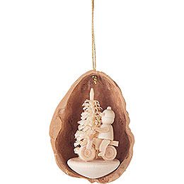 Tree Ornament  -  Walnut Shell with Cyclist  -  4,5cm / 1.8 inch