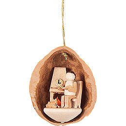 Tree Ornament  -  Walnut Shell with Elderly Man  -  4,5cm / 1.8 inch