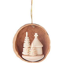 Tree Ornament  -  Walnut Shell with Forest Chapel  -  4,5cm / 1.8 inch