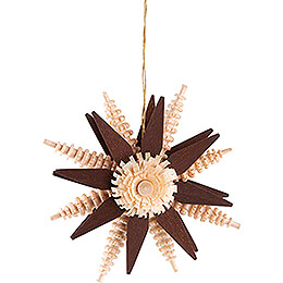 Tree Ornament  -  Wood Chip Star  -  Brown  -  7cm / 2.8 inch
