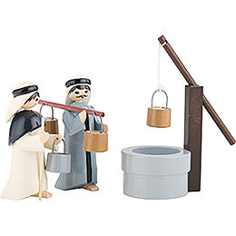 Water Carriers with Well, Set of Three, Colored  -  7cm / 2.8 inch