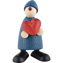 Well - Wisher Theo with Heart, Blue  -  9cm / 3.5 inch