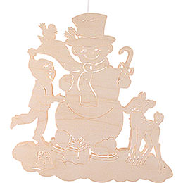 Window Picture  -  Snowman with Child and Fawn  -  33cm / 13 inch