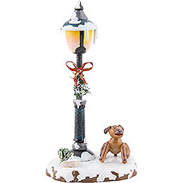 Winter Children Doggy under the Lamppost  -  12cm / 5 inch