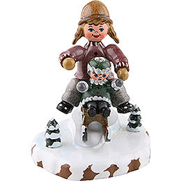 Winter Children Girls with Sledge  -  7cm / 2,5 inch