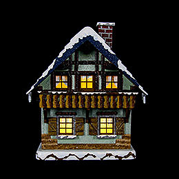 Winter Children House with Balcony Illuminated  -  15cm / 5,5 inch