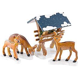 Winter Children Manger with 3 Deer  -  3 - 7cm / 1,5 - 3 inch