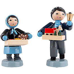 Winterkinder Striezelkinder 2 - teilig blau  -  7cm