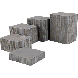 Wooden Block Set  -  5 pieces  -  Grey  -  12cm / 4.7 inch