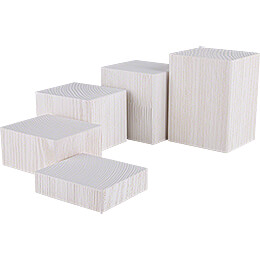 Wooden Block Set  -  5 pieces  -  White  -  12cm / 4.7 inch