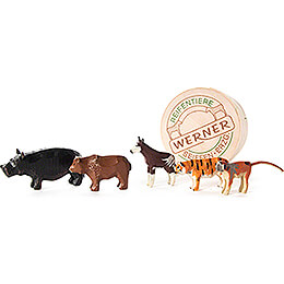 Zoo Animals in Wood Chip Box  -  4cm / 1.6 inch