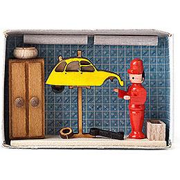 Zündholzschachtel Autowerkstatt  -  4cm